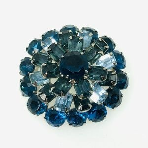 Vintage Multi Blue Pronged Faceted Rhinestone 4 Ti